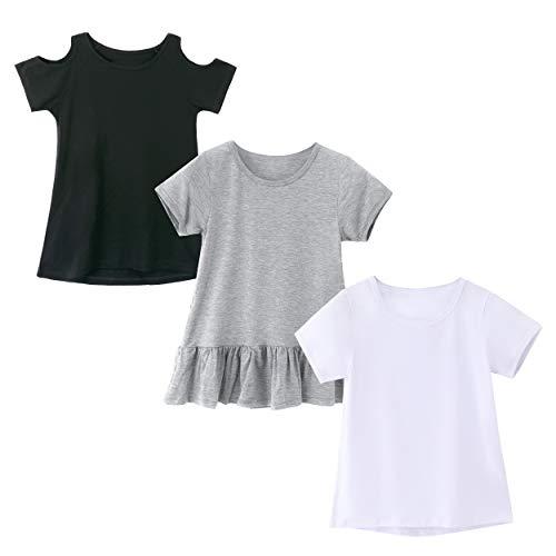 IRELIA 3 Pack Girls Crew Neck Tee Short Sleeve Shirts Mix BlaWhGr M ()
