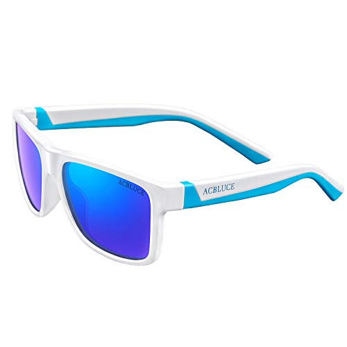 Sports Sunglasses for Kids Boys Girls Children Child Teen Youth UV 400 Polarized Glasses, Bright White/Blue Frame?blue Revo Lense