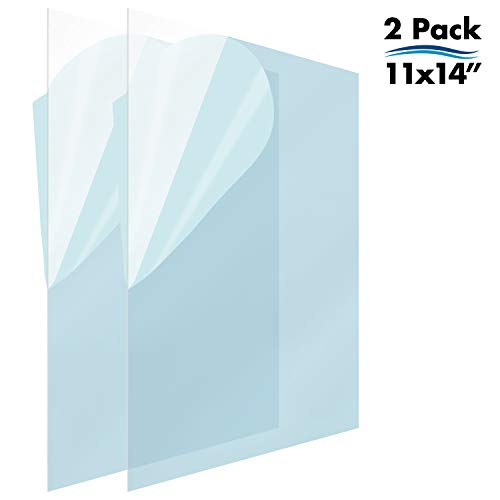 Icona Bay PET Replacement for Picture Frame Glass (11 x 14, 2 Pack) PET is Ideal Replacement Glass Material, Avoid Glass Shattering, Your Superior Replacement Picture Frame Glass Has Arrived - Glass Frame Size