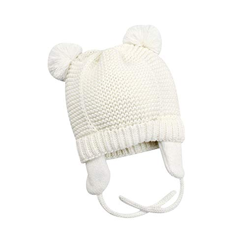 XIAOHAWANG Baby Hat Cute Bear Toddler Earflap Beanie Warm for Fall Winter (0-7Months, White ()