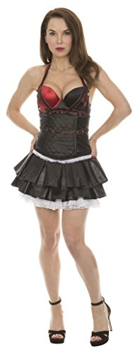 DC Comics Arkham Harley Quinn Sexy Corset and Pleather Tutu Skirt Costume Set (Adult X-Large) Red/Black -
