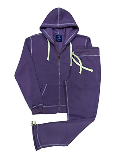 (Women's Light Cold Weather Active wear Soft Comfortable Fleece Sweat Suit Top and Bottom Outfit (Purple, M))