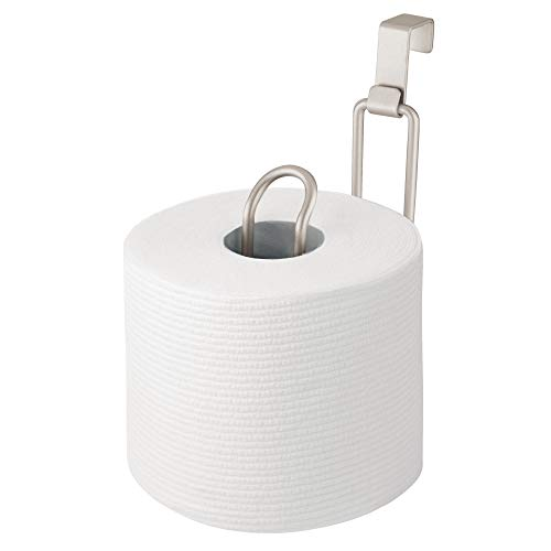 mDesign Metal Over The Tank Toilet Tissue Paper Roll Holder Dispenser and Reserve for Bathroom Storage and Organization - Hanging, Holds 1 Roll - Satin ()