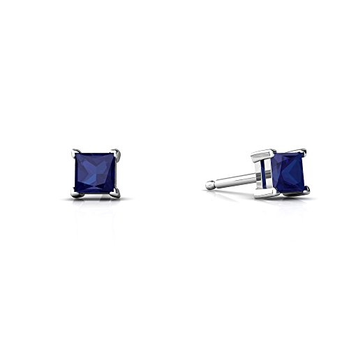 14kt White Gold Lab Sapphire 3mm Square Princess Cut Stud Earrings