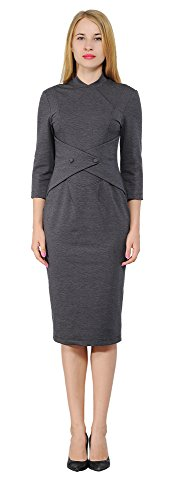 Marycrafts Women's Vintage Retro 1960s Midi Dress Work Office Party 12 Gray - Women Fashion 1960