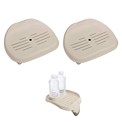 (Intex Removable Slip-Resistant Seat for Inflatable Pure Spa Hot Tub | 28502E (2 Pack) PureSpa Attachable Cup Holder and Refreshment Tray Accessory | 28500E)