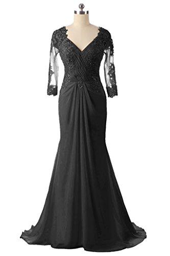der Frauen Spitze Kleid Perlen Mutter Braut Abendkleider lange Schwarz Ausschnitt HWAN V Mermaid WSA8UWT6