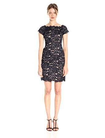 Adrianna Papell Women's Off The Shoulder Lace Sheath Dress with Contrast Lining, Midnight Blue/Pale Pink, - Dress Pale Blue Lace