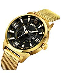 Men's Luxury Analog Quartz Waterproof Wrist Watches Roman Numeral Dial IP Gold Plating Steel CalendarWatch (Gold Gentlemans Wrist Watch)