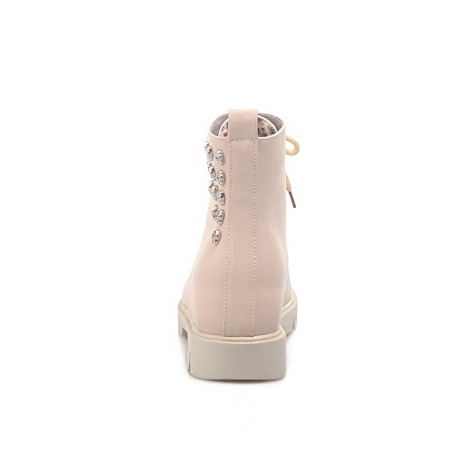 AgooLar Women's Closed Round Toe Low-Top Kitten-Heels Solid PU Boots Beige F2lyv