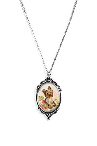 Floral Yorkie 30x40mm Glass Silver Filigree Cameo Necklace