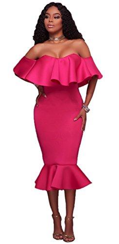 Party Clubwear Bodycon Women Mermaid Shoulder Rose Off Solid Blansdi Ruffle Midi Dress qwROHYY