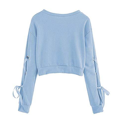 Camicette Shirt Cielo Solidi Felpa Elegante Pullover T di Tops Autunno Maniche Lunghe del di Blu Camicie Corti Casual Vendita Donne Casuali Modo Nastri ABCone Donna Pizzo Liquidazione wpz41x