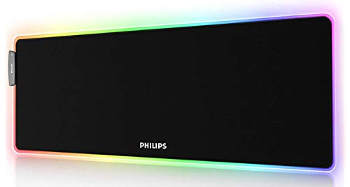 PHILIPS RGB Gaming Mouse Pad, LED Soft Large Mousepad with Ajdustable Lighting, USB Port and Smart Memory Function, Anti-Slip Rubber Base, Computer Keyboard Mouse Mat 31.5 x 12 inches