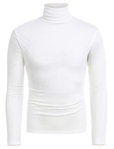 RAGEMALL Men's Casual Slim Fit Turtleneck Pullover Tops Blouses White XXXL