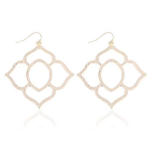 Octagon Flower - RIAH FASHION Lightweight Geometric Cut-Out Drop Earrings - Simple Metallic Open Hoop Wire Hook Dangles Pear, Teardrop, Oval Octagon (Orchid - Gold)