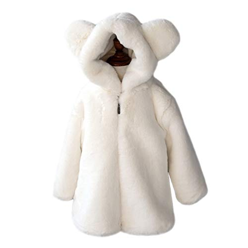 Teeker Grils Fur Fleece Coat Winter Jacket Hooded Warm -