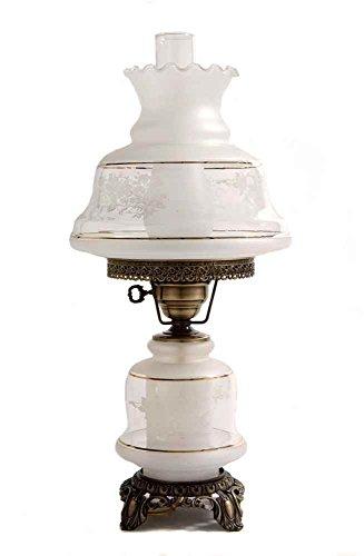 Band Hurricane Lamp - 23 in. Victoria's Window Hurricane Table Lamp w 12 in. Shade