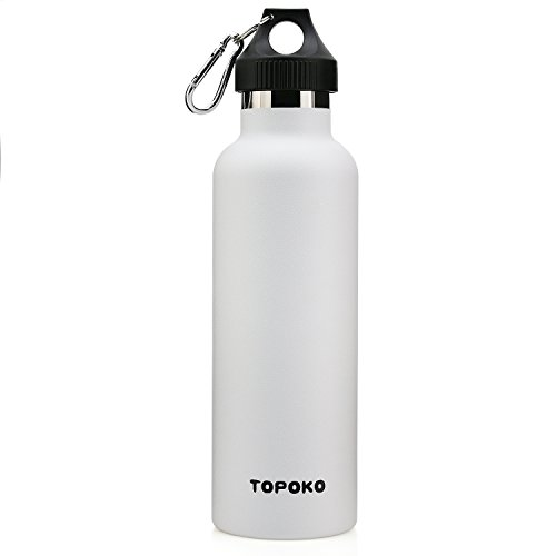TOPOKO 25 oz Stainless Steel Vacuum Insulated Water Bottle, Keeps Drink Cold up to 24 Hours & Hot up to 12 Hours, Leak Proof and Sweat Proof. Large Capacity Sports Bottle (White)