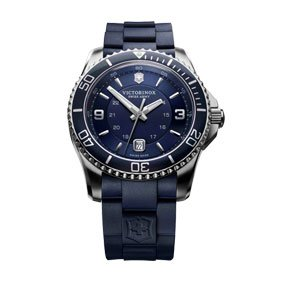 Victorinox Swiss Army Blue Dial Stainless Steel Rubber Quartz Men's Watch 241603