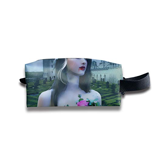 Dreamy Halloween Young Beautiful Vampire Girl in The Manor Multi-Function Key Purse Coin Cash Pencil Travel Makeup Toiletry Bag Box Case ()