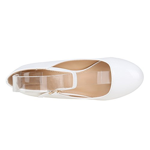 Damen Schuhe Pumps Mary Janes Veloursleder-Optik High Heels Blockabsatz Flandell Weiss Lack Lack
