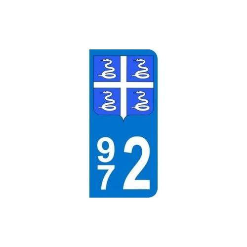 Autocollant 972 avec blason Martinique plaque immatriculation Auto (9,8 x 4,5 cm)