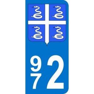 Auto, Moto – Pièces, Accessoires Badges, Insignes, Mascottes 972 Ile Martinique Departement Immatriculation 2 X Autocollants Sticker Auto