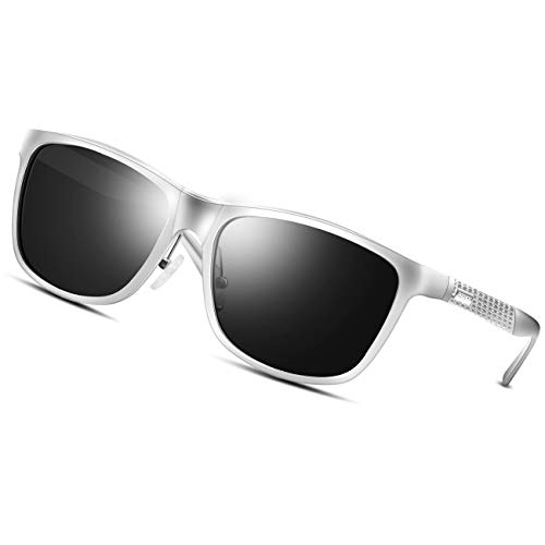 PAERDE Men's Polarized Wayfarer Sunglasses For Men Driving Metal Frame Ultra Light Sun Glasses (Silver) ()