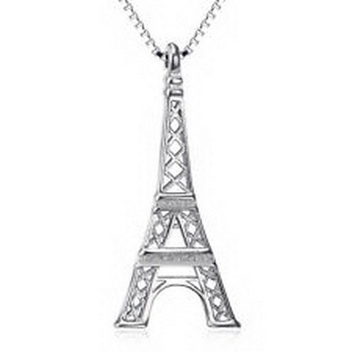 jacob alex #40637 925 Sterling Silver Eiffel Tower Shape Necklace Pendant Charming by jacob alex