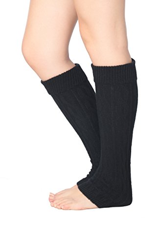 Acrylic Leg Warmers (Isadora Paccini Women's Cable Knit Leg Warmers, One Size, LW14, Black)