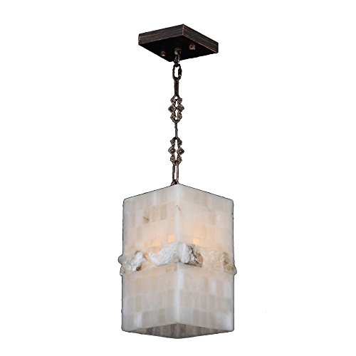 (Worldwide Lighting Pompeii Collection 1 Light Flemish Brass Finish and Natural Quartz Square Pendant 6
