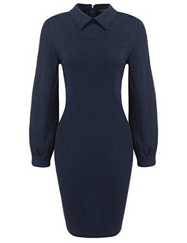 SE MIU Women's Vintage Career Bodycon Dress Blue -