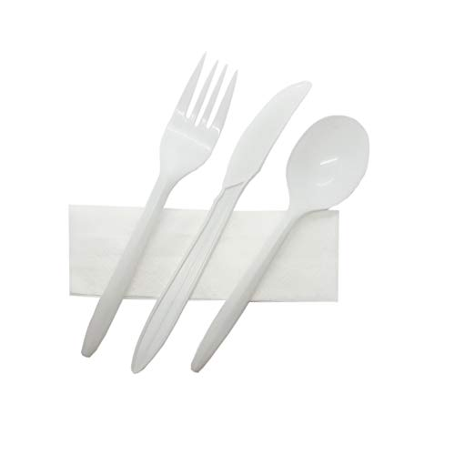 R Noble 80 Plastic Silverware Set with Napkins, Individually Wrapped, Disposable Silverware Set, Cutlery Kit