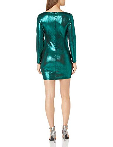 YBINYNA Women's Sparkly Mini Bodycon Dress Wrap Deep V Neck Long Sleeve Cocktail Bandage Sexy Dresses