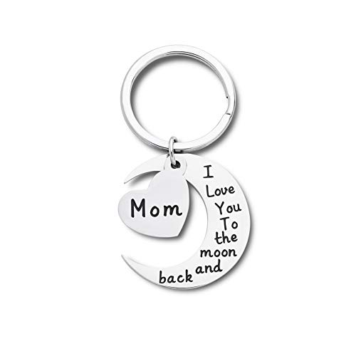 Mothers Day Gift keychain for Mum Grandma Her From Daughter And Son - I Love You To The Moon And Back Personalised Keyring Mothers Fathers Day Birthday