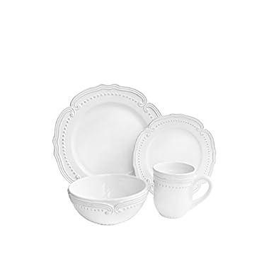 American Atelier 16 Piece Victoria Round Dinnerware Set, White