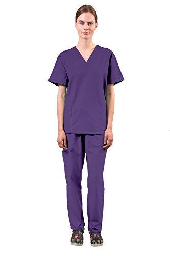 Women's Super Comfy Medical Scrubs Set SCR44808 EGGPLANT 2X (Scrub Sets Plus Size Women)