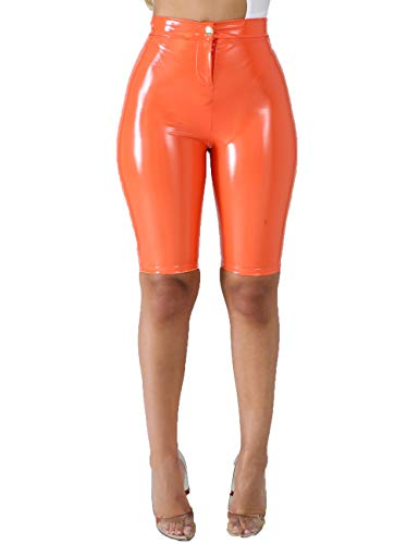 3346688db70b56 ... Angelcoco Lady Bodycon PU Short Trouser Sexy High Waist Skinny Faux  Leather Coated Leggings Zipper Button ...