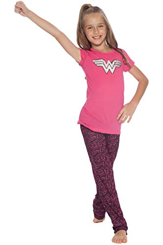 DC Comics Little Girls' Wonder Woman Hologram Logo Yoga Pajamas, Pink, 4/5