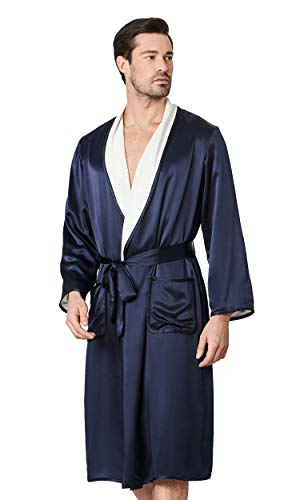 (LilySilk Silk Robe for Men Navy Blue Long Reversible Two-Sides Silk and Terry Warm Luxury Bathrobes with Pockets X-Large)
