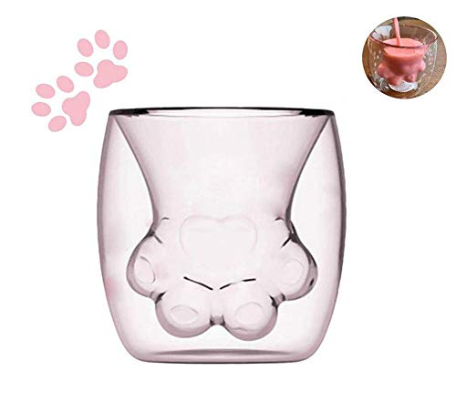 (Cat Paw Mug Double Wall Glass Cat-Claw Coffee Cup for Coffee Tea Milk Juice New 2019 (Transparent))