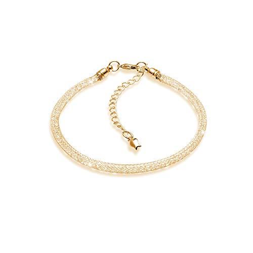 KINGSIN Mesh Bracelet Strand with Crystal Cubic Zirconia 14K Rose Gold Siver for Women Girls