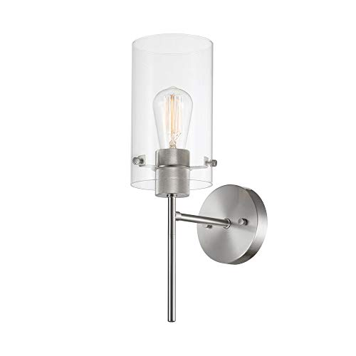 Globe Electric Cusco 1-Light Wall Sconce, Brushed Nickel, Clear Glass Shade 51361 - Light Chandelier Brush