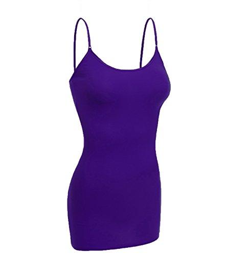 Emmalise Women Camisole Built in Bra Wireless Fabric Support Long Layering Cami, Medium, Purple