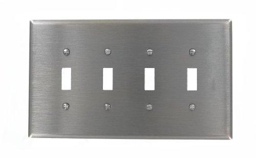 Leviton 84112-40 4-Gang Toggle Device Switch Wallplate, O...