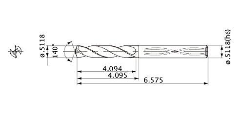 5 Hole Depth 0.5118 Cutting Dia 0.512 Shank Dia. 0.094 Point Length Mitsubishi Materials MWS05118LB MWS Series Solid Carbide Drill Internal Coolant