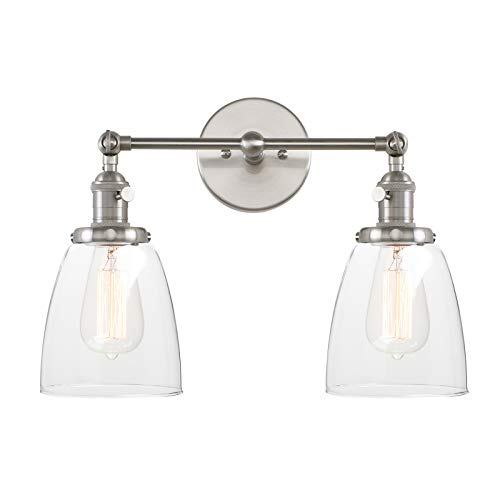 Pathson 2 Light Wall Sconce, Vintage Style Industrial Wall Light Fixtures with Oval Cone Clear Glass Shade Dark Steel Finished (Brushed Steel) (Fixture Light Cone)