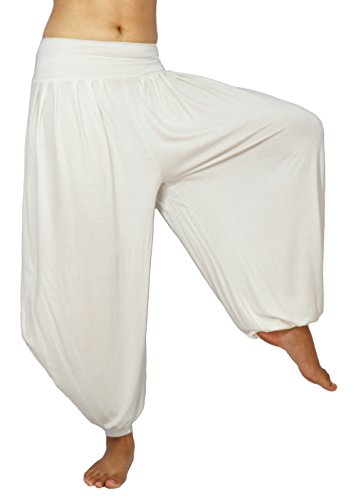 Lovely Creations Women's Drape Harem Aladdin Loose Elastic Waist Pants (JS White)