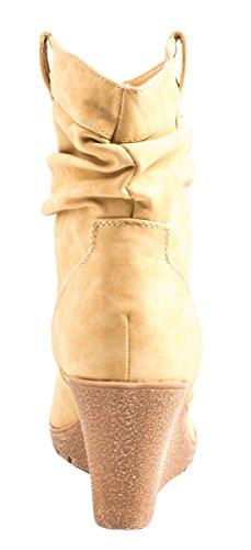 Elara - Botas plisadas Mujer Beige